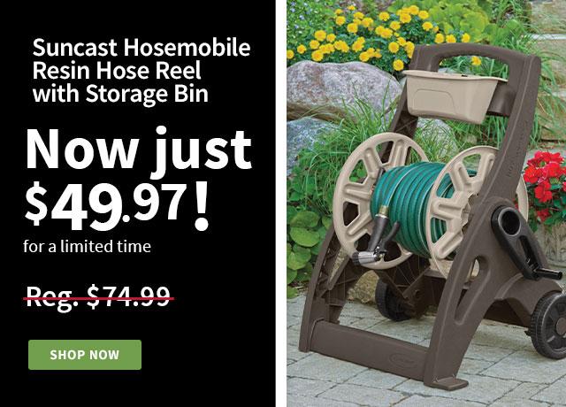 Suncast hose reel with storage bin
