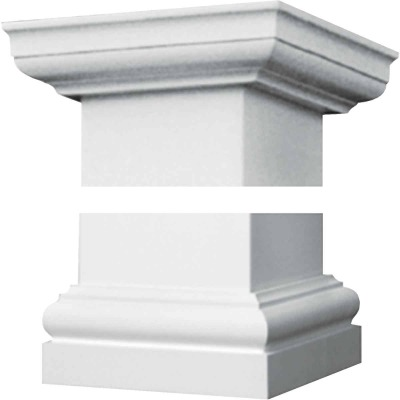Crown Column Duralite 6 In. White Fiberglass Cap/Base