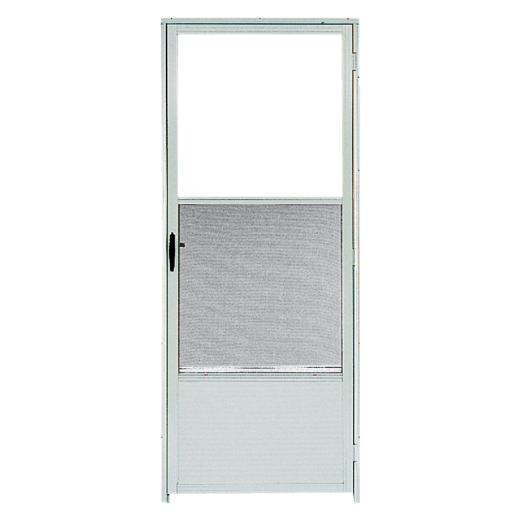 Croft Continental Style 32 In. W x 80 In. H x 1-1/4 In. Thick White Self-Storing Aluminum Storm Door