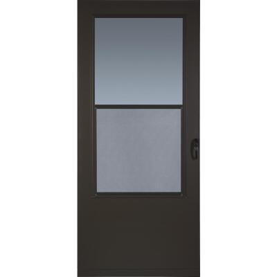 Larson Value-Core 32 In. W x 80 In. H x 1 In. Thick Brown Self-Storing Aluminum Storm Door
