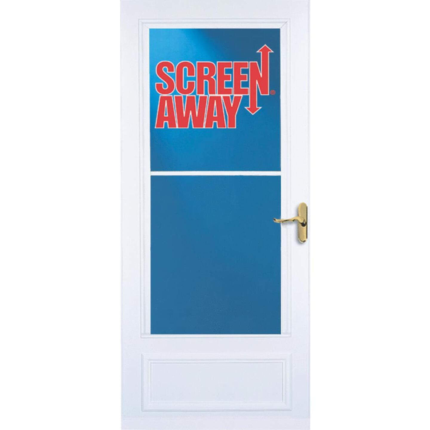 Larson Screenaway Lifestyle 32 In. W x 80 In. H x 1 In. Thick White Mid View DuraTech Storm Door Image 2