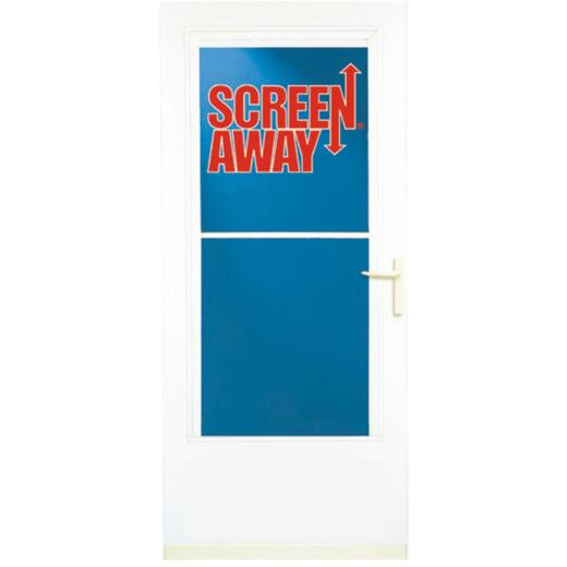 Larson Screenaway Life-Core 36 In. W x 80 In. H x 1 In. Thick White Mid View DuraTech Storm Door