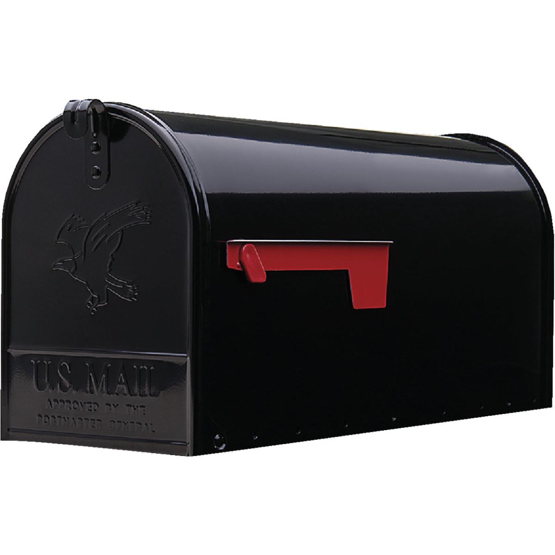Gibraltar Elite T2 Large Black Steel Rural Post Mount Mailbox Image 2