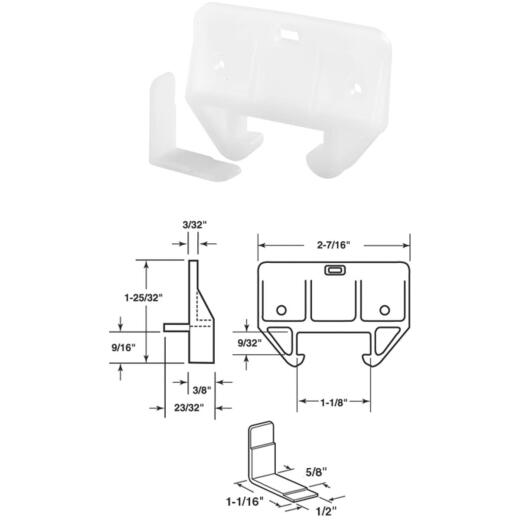 """Prime-Line 1/4"""" x 1-1/16"""" Polyethylene White Track Guide (2 Count)"""