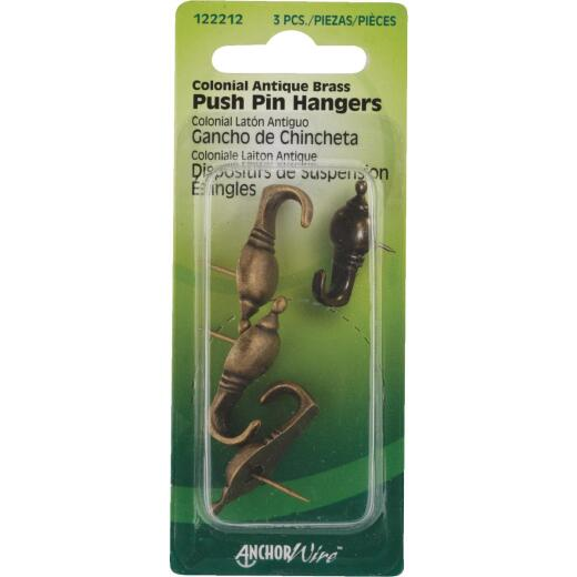 Hillman Anchor Wire Antique Brass Colonial Decorative Push Pin Hanger (3 Count)