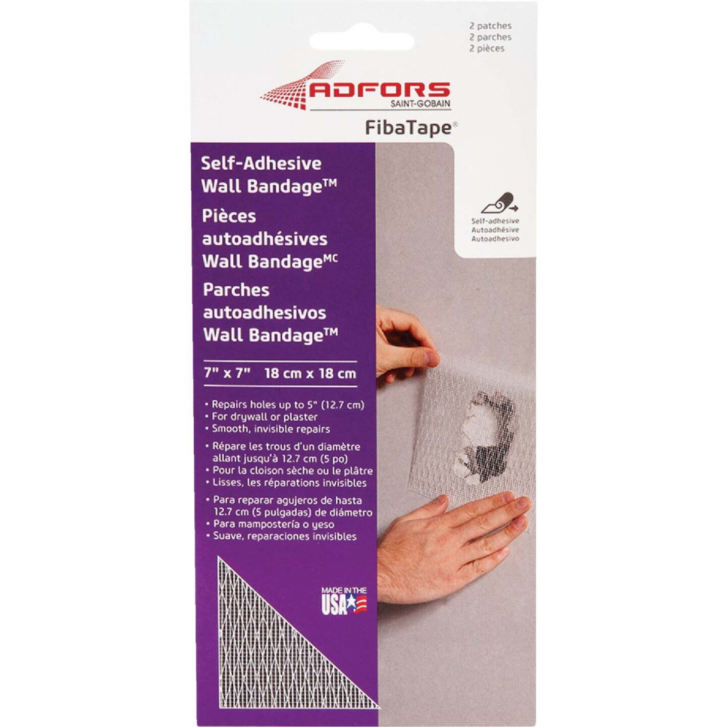FibaTape Wall Bandage 7 In. x 7 In. Self-Adhesive Drywall Patch (2-Pack) Image 1