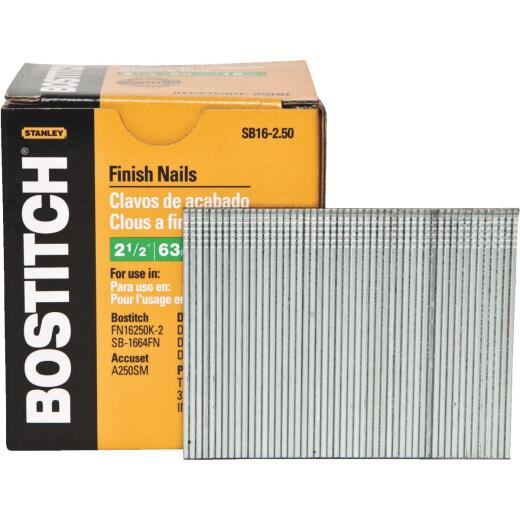 Bostitch 16-Gauge Coated Straight Finish Nail, 2-1/2 In. (2500 Ct.)
