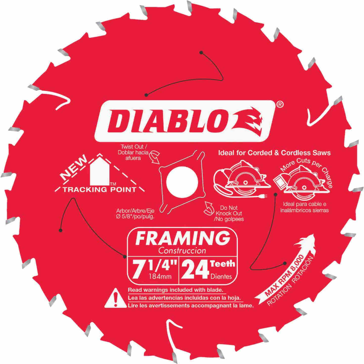 Diablo 7-1/4 In. 24-Tooth Framing Circular Saw Blade, Bulk Image 1