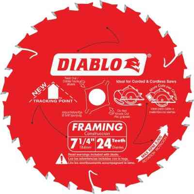 Diablo 7-1/4 In. 24-Tooth Framing Circular Saw Blade