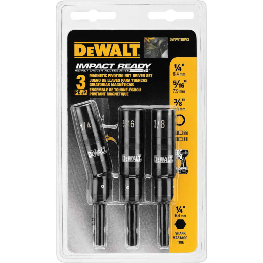 DeWalt Impact Ready Magnetic Pivoting Bit Holder Set (3-Piece)