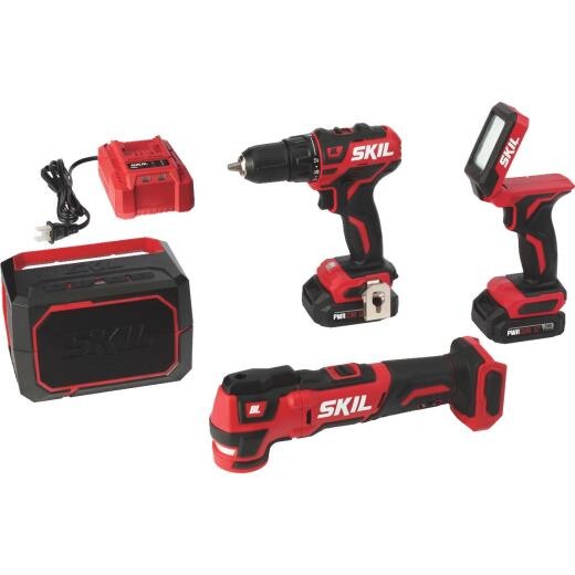 SKIL 4-Tool PWRCore 12 Volt Lithium-Ion Brushless Drill/Driver, Multi-Tool, Area Light & Bluetooth Speaker Cordless Tool Combo