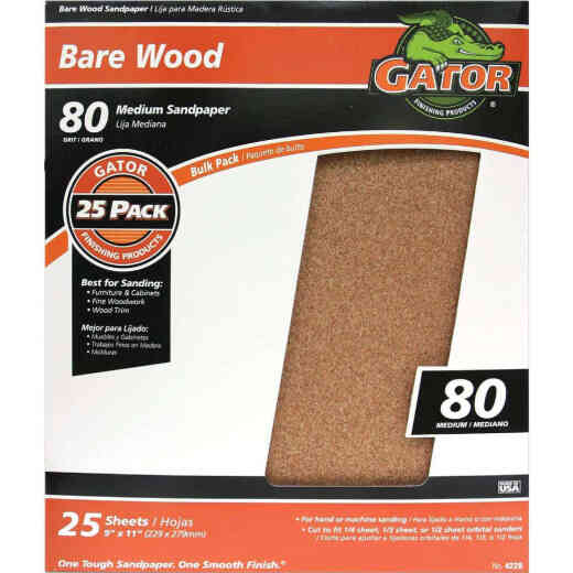 Gator Bare Wood 9 In. x 11 In. 80 Grit Medium Sandpaper (25-Pack)