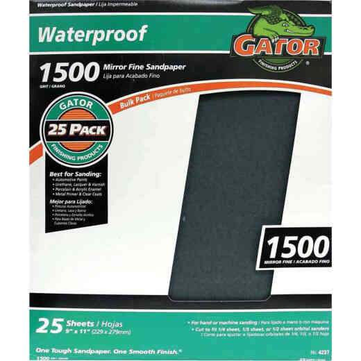 Gator Waterproof 9 In. x 11 In. 1500 Grit Mirror Fine Sandpaper (25-Pack)