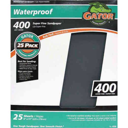 Gator Waterproof 9 In. x 11 In. 400 Grit Super Fine Sandpaper (25-Pack)