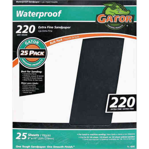 Gator Waterproof 9 In. x 11 In. 220 Grit Extra Fine Sandpaper (25-Pack)