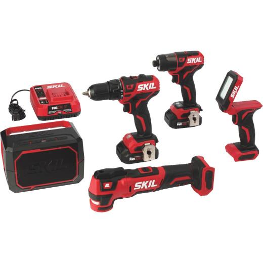 SKIL 5-Tool PWRCore 12 Volt Lithium-Ion Brushless Drill/Driver, Impact Driver, Multi-Tool, Light & Speaker Cordless Tool Combo