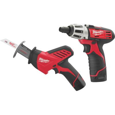 Milwaukee 2-Tool M12 12V Lithium-Ion Screwdriver & Reciprocating Saw Cordless Tool Combo Kit