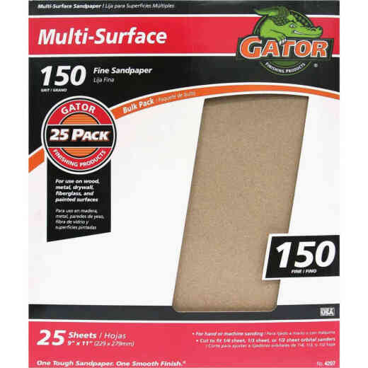 Gator Multi-Surface 9 In. x 11 In. 150 Grit Fine Sandpaper (25-Pack)