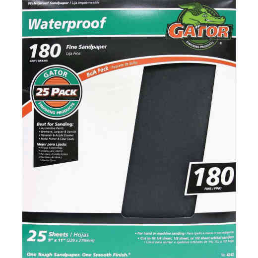 Gator Waterproof 9 In. x 11 In. 180 Grit Fine Sandpaper (25-Pack)