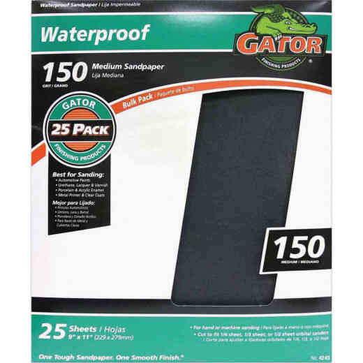 Gator Waterproof 9 In. x 11 In. 150 Grit Medium Sandpaper (25-Pack)
