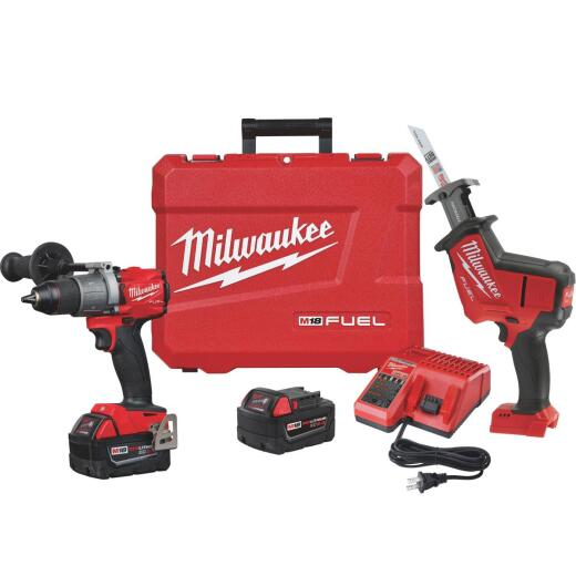 Milwaukee 2-Tool M18 FUEL 18 Volt Lithium-Ion Brushless Hammer Drill/Reciprocating Saw Cordless Tool Combo Kit