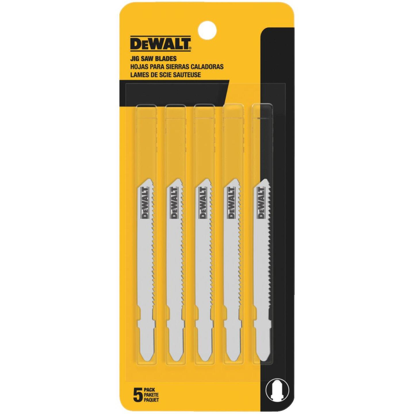 DeWalt T-Shank 3 In. x 24 TPI High Carbon Steel Jig Saw Blade, Thin Metal (5-Pack) Image 1
