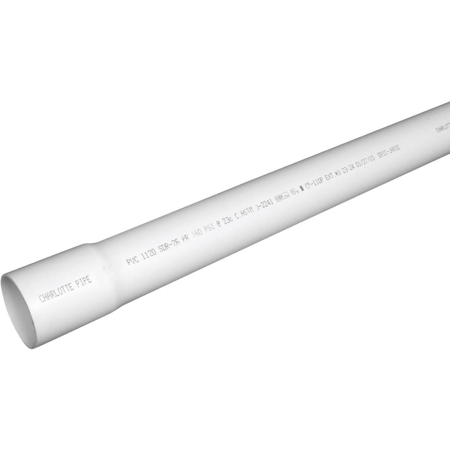 Charlotte Pipe 1-1/2 In. x 20 Ft. Cold Water PVC Pressure Pipe, SDR 26, Belled End Image 1