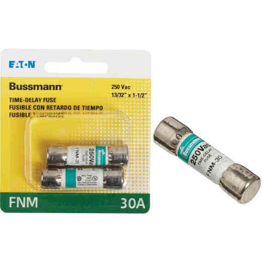 Bussmann 30A Fusetron FNM Cartridge General Purpose Time Delay Cartridge Fuse (2-Pack)