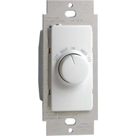 Leviton White 4-Speed Single Pole Rotary On/Off Fan Control Switch
