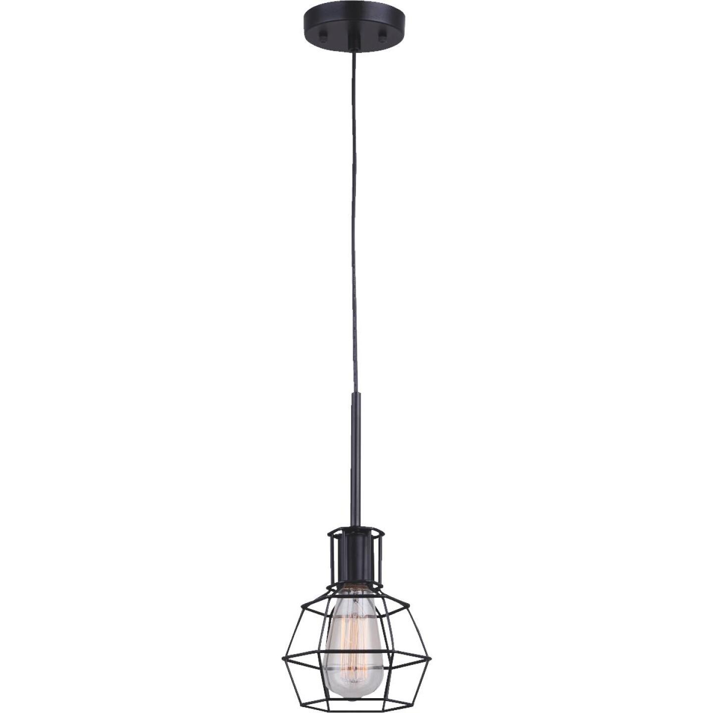 Home Impressions 1-Bulb Black Incandescent Hexagon Cage Style Pendant Light Fixture Image 1