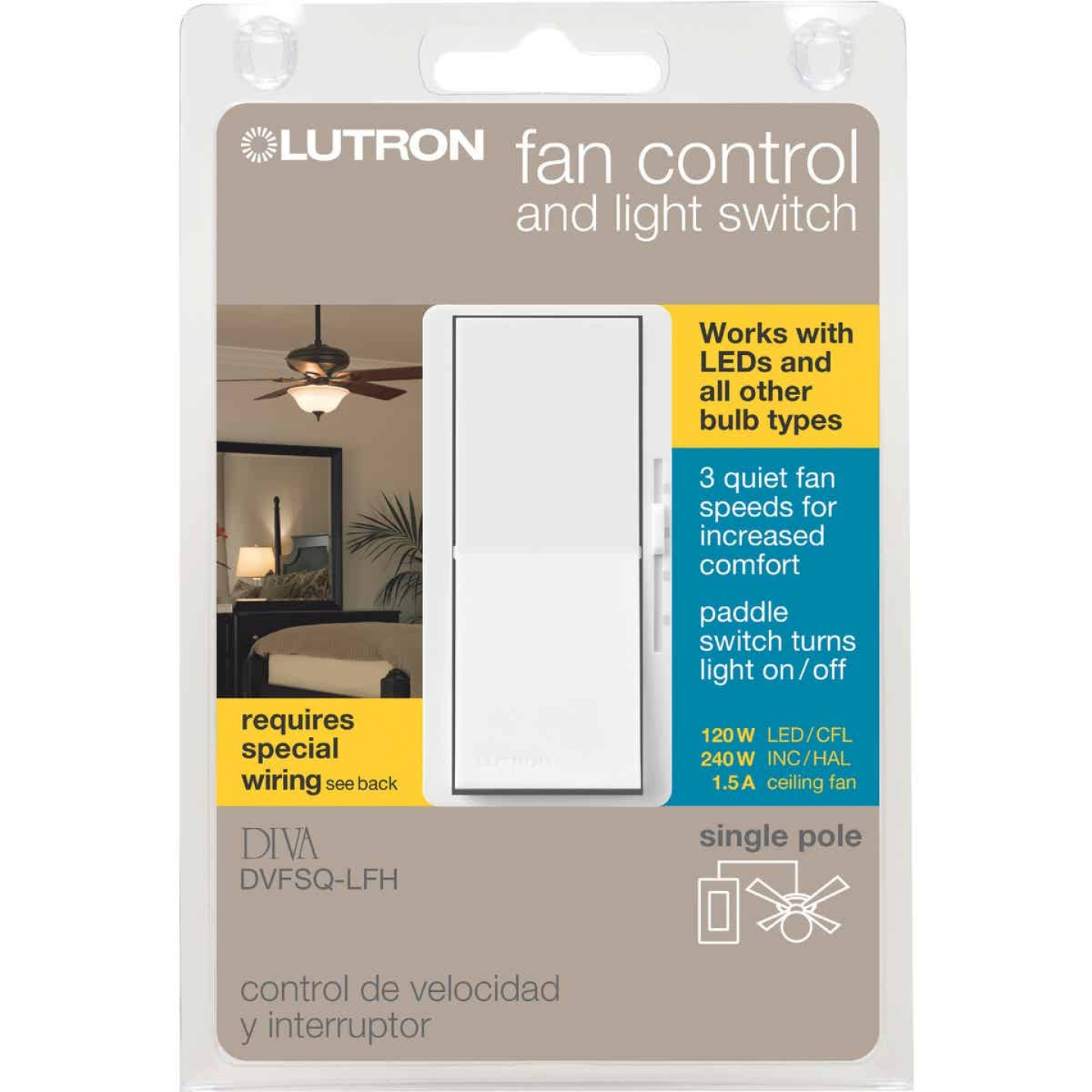 Lutron Diva White Single Pole Rocker 3-Speed Light & Fan Control Switch Image 1