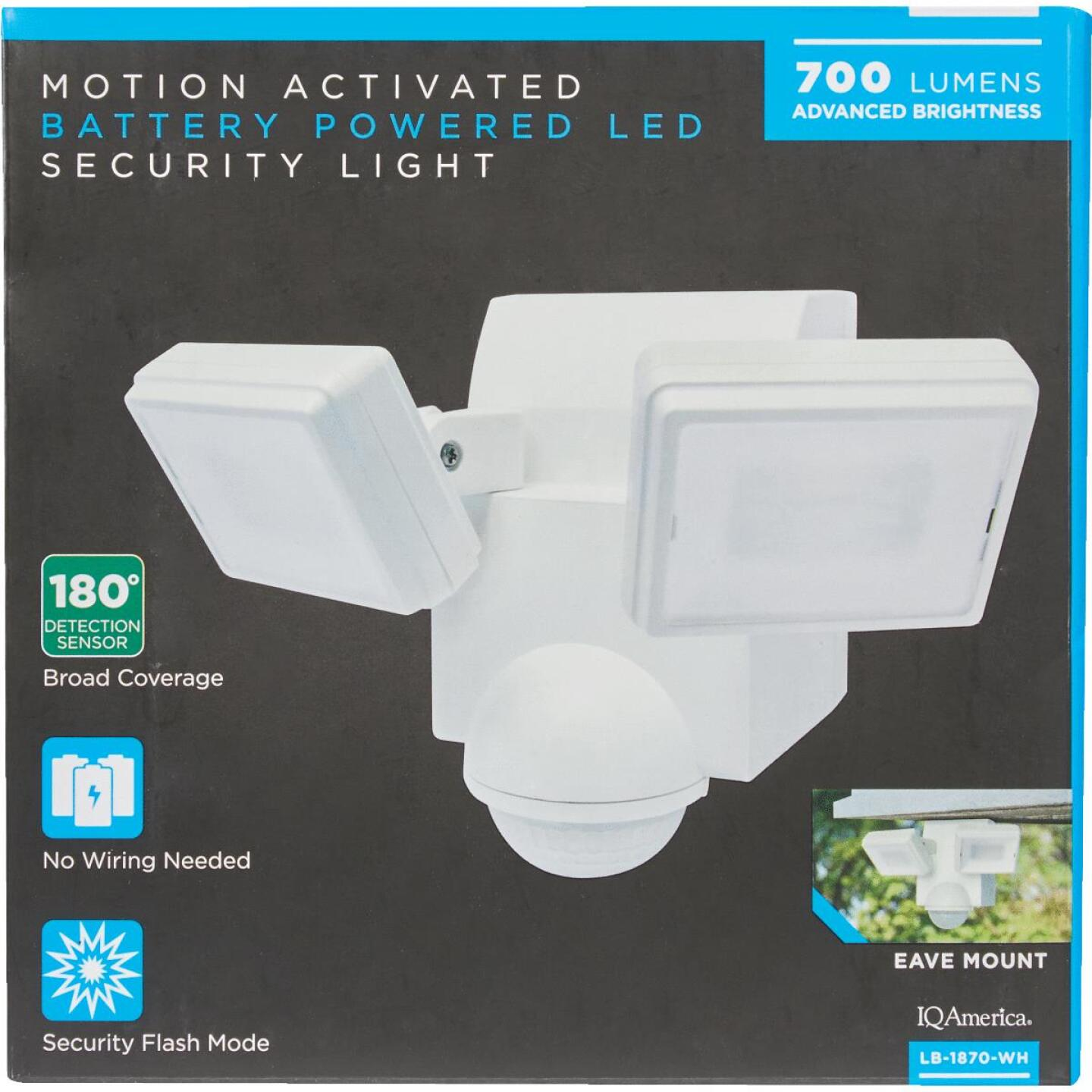 IQ America White 700 Lm. LED Battery Operated 2-Head Security Light Fixture Image 2
