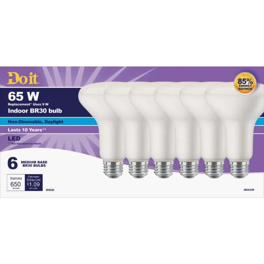Do it 65W Equivalent Daylight BR30 Medium LED Floodlight Light Bulb (6-Pack)