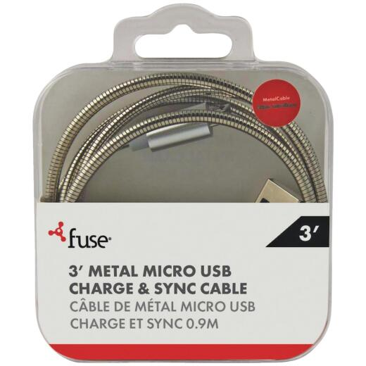 Fuse 3 Ft. Metal Micro USB Charging & Sync Cable