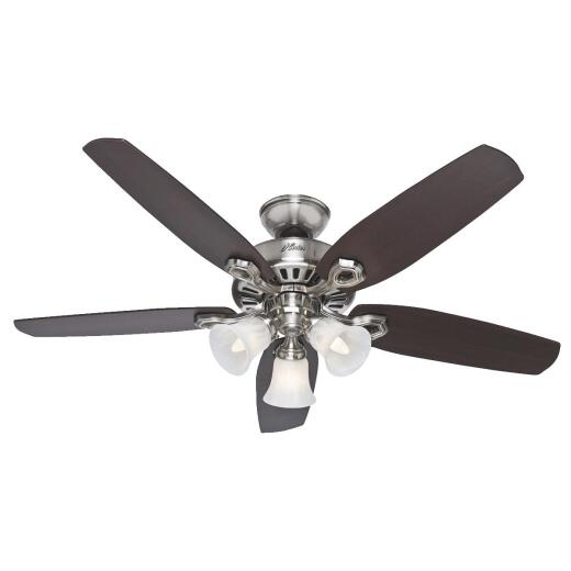 Hunter Builders Plus 52 In. Brushed Nickel Ceiling Fan with Light Kit