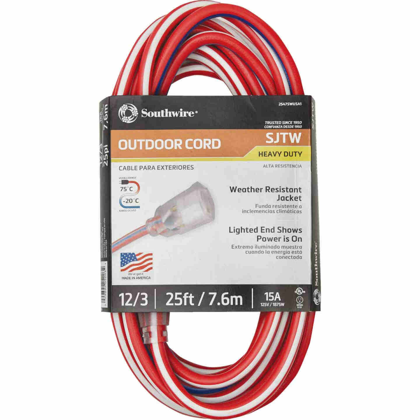 Southwire 25 Ft. 12/3 Indoor/Outdoor Red, White, & Blue Striped Patriotic Extension Cord Image 2