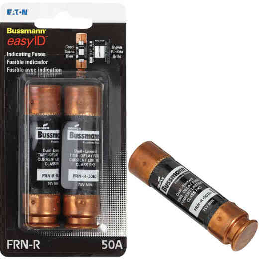Bussmann 50A FRN-R Cartridge Heavy-Duty Time Delay Cartridge Fuse (2-Pack)