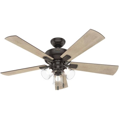 Hunter Crestfield 52 In. Noble Bronze Ceiling Fan with Light Kit