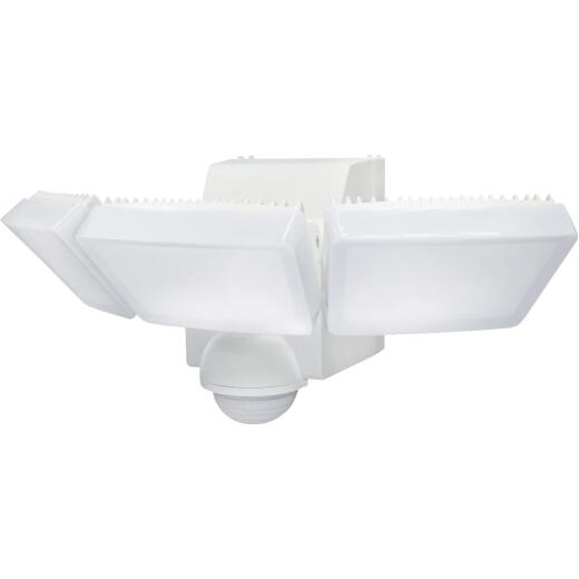 IQ America White 1200 Lm. LED Motion Sensing Battery Operated 3-Head Security Light Fixture