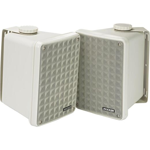 Kicker KB6000 2-Way White Weatherproof Outdoor Full Range Speaker (2-Pack)