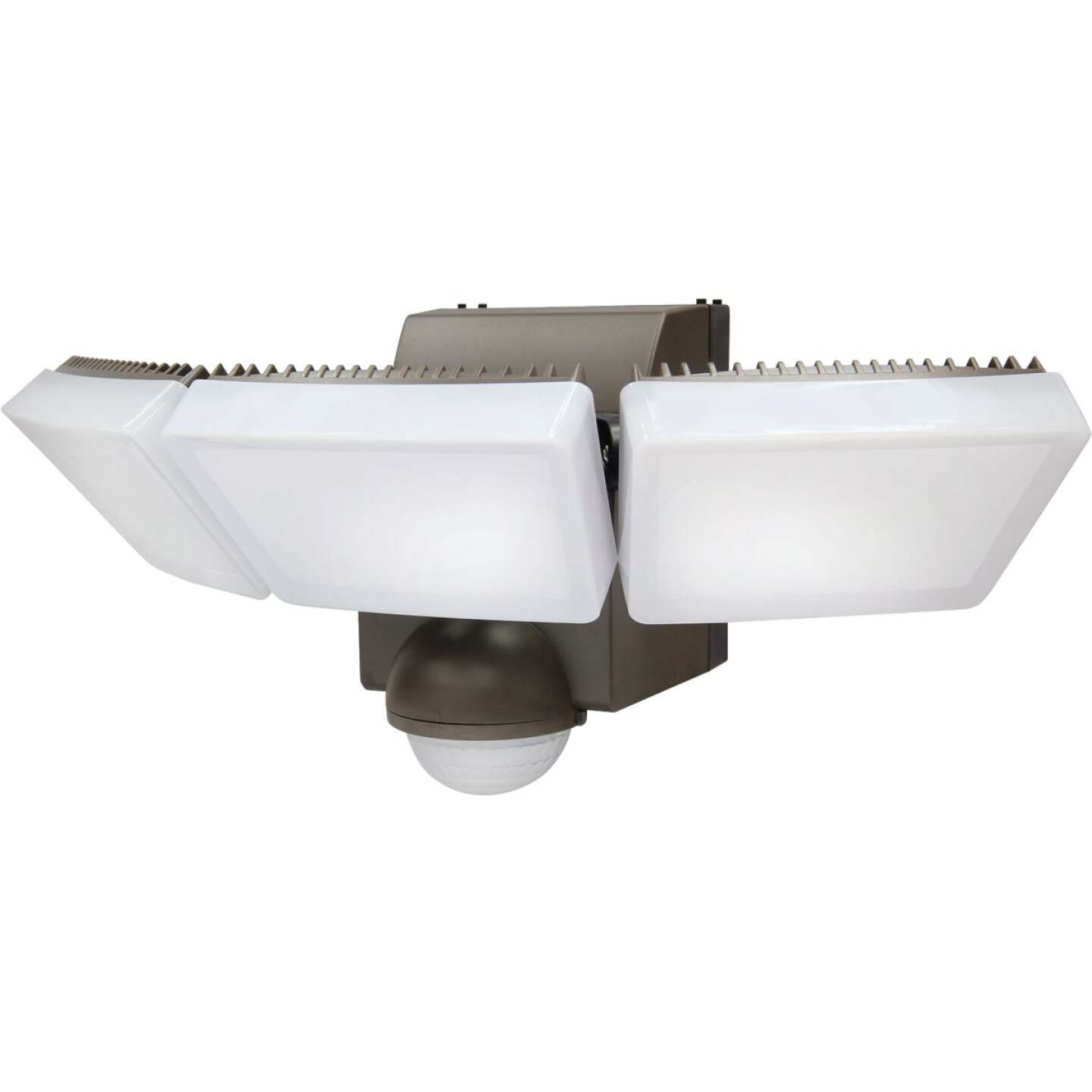 IQ America Bronze 1200 Lm. LED Motion Sensing Battery Operated 3-Head Security Light Fixture Image 1