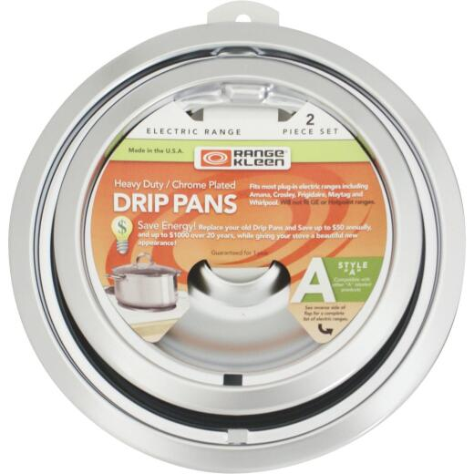 "Range Kleen Electric (1) 6"" & (1) 8"" Style A Round Chrome Drip Pan"