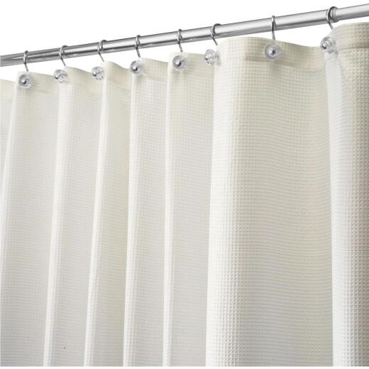 iDesign 72 In. x 72 In. Carlton Off-White Button Hole Polyester Shower Curtain