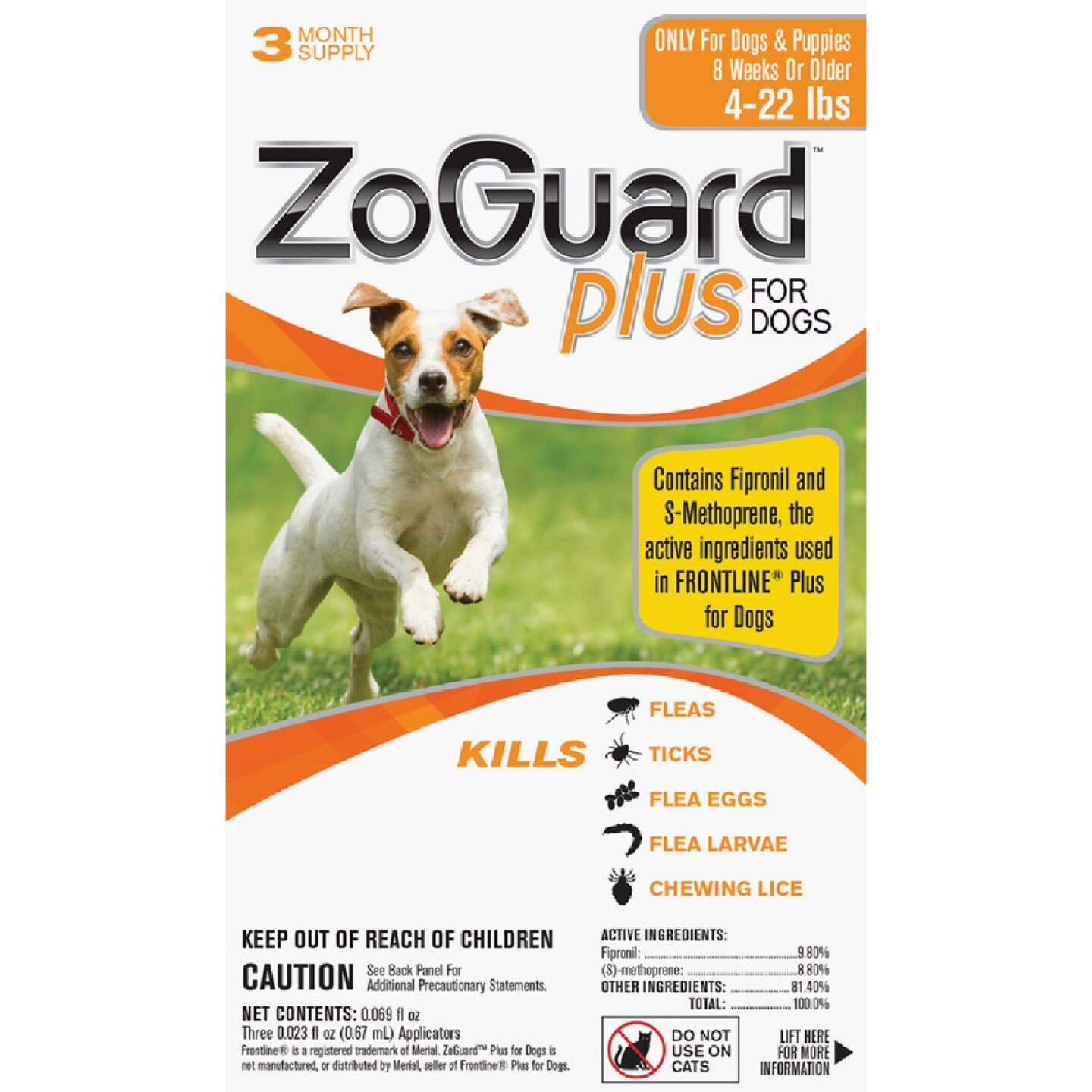 ZoGuard Plus 3-Month Supply Flea & Tick Treatment For Dogs 4 Lb. to 22 Lb. Image 1