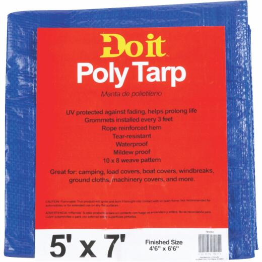 Do it Best Blue Woven 5 Ft. x 7 Ft. Medium Duty Poly Tarp