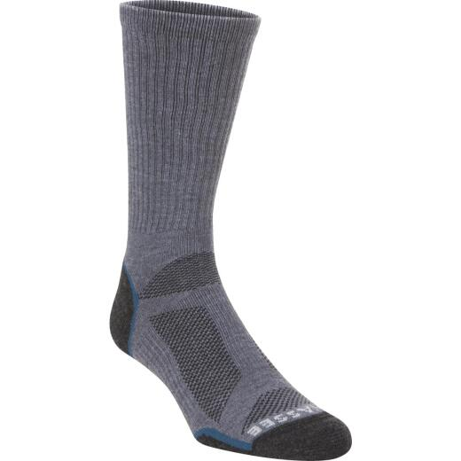 Hiwassee Trading Company Large Charcoal/Blue Lightweight Performance Tech Crew Sock