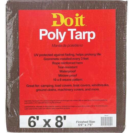 Do it Best 1 Side Green/1 Side Brown Woven 6 Ft. x 8 Ft. Medium Duty Poly Tarp