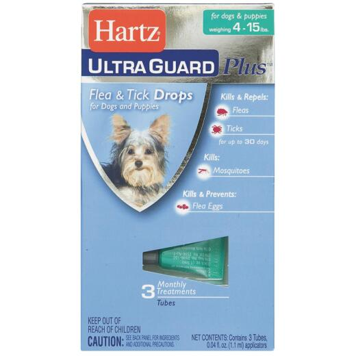Hartz UltraGuard Plus 3-Month Supply Flea & Tick Drops For Dogs & Puppies 4 To 15 Lb.