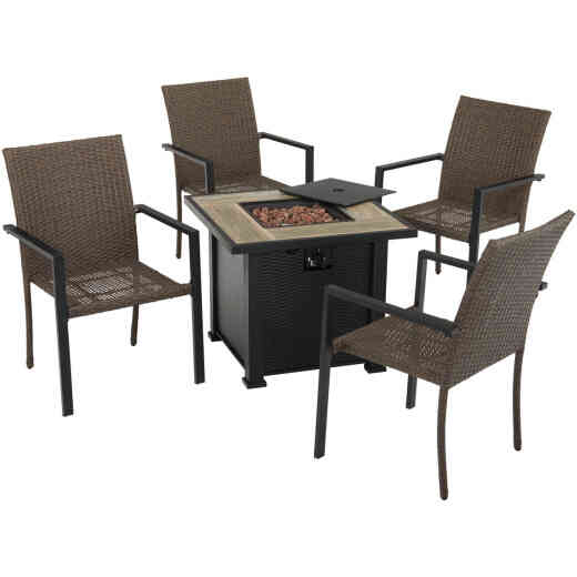 Leisure Classics Madrid 5-Piece Fire Table Chat Set