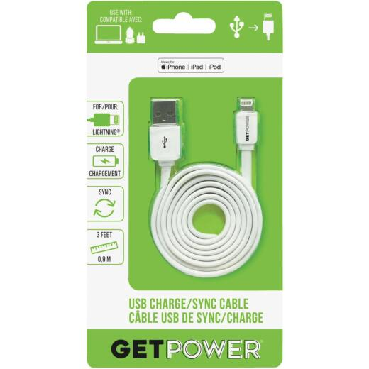 GetPower 3 Ft. White Apple Lightning to USB Charge/Sync Cable